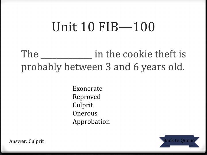 Unit 10 FIB—100
