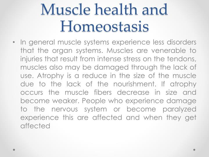 Muscle health and Homeostasis