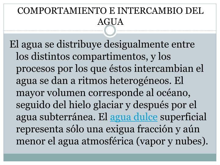 COMPORTAMIENTO E INTERCAMBIO DEL AGUA