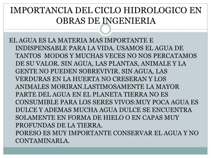 IMPORTANCIA DEL CICLO HIDROLOGICO EN OBRAS DE INGENIERIA