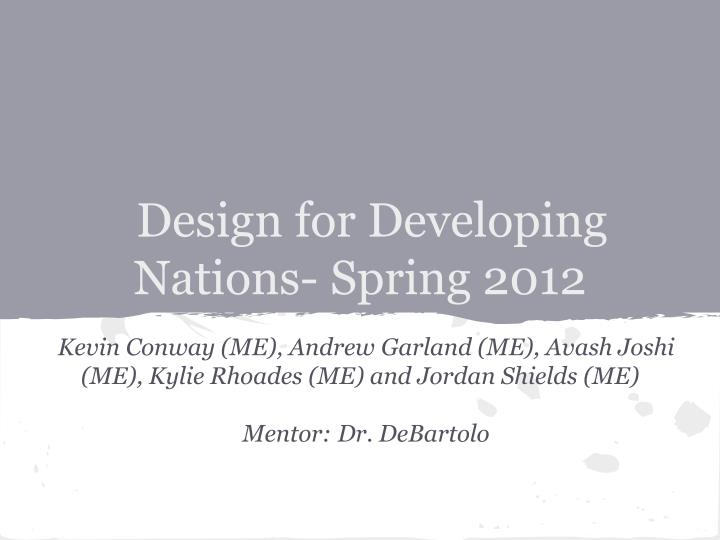 design for developing nations spring 2012
