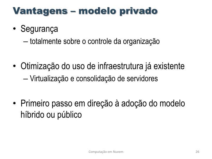 Vantagens – modelo privado