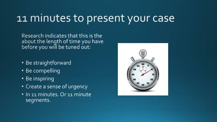 11 minutes to present your case