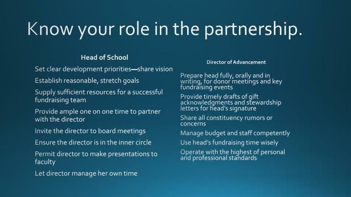 Know your role in the partnership.