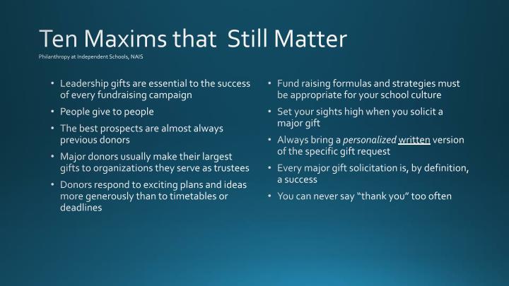 Ten Maxims that  Still Matter