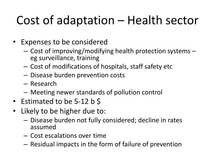 Cost of adaptation – Health sector