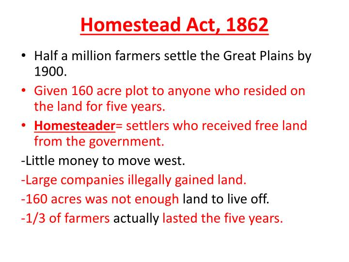 Homestead Act, 1862