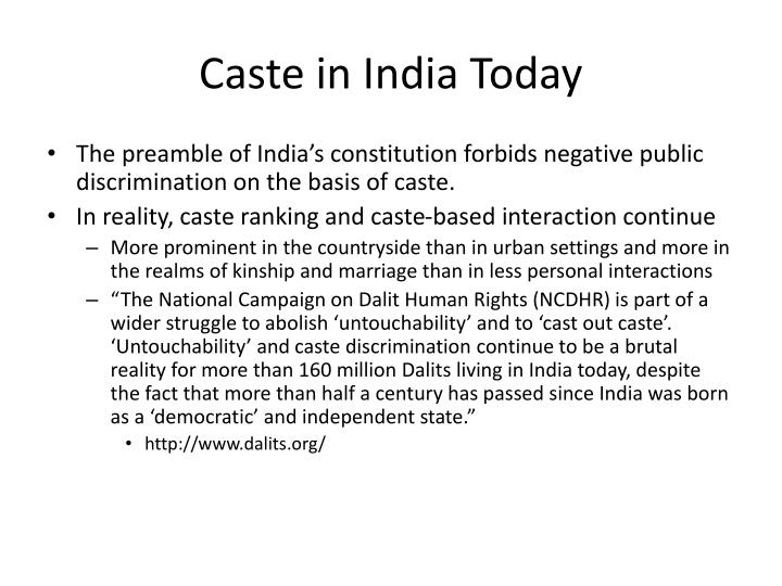 Caste in India Today