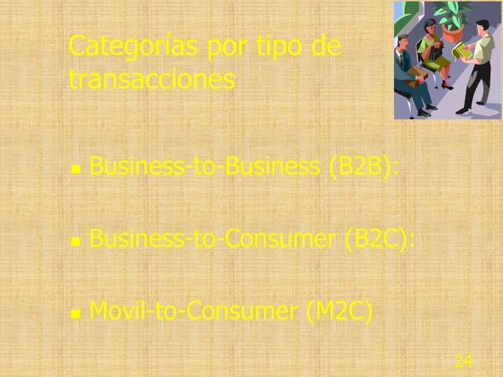 Categorías por tipo de transacciones