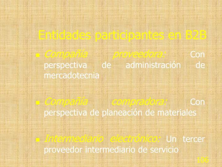 Entidades participantes en B2B