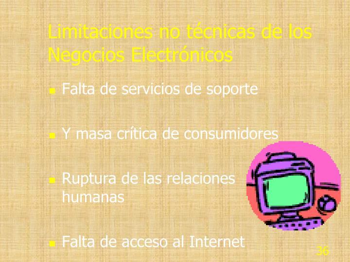 Limitaciones no técnicas de los Negocios Electrónicos