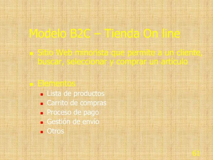 Modelo B2C – Tienda On line