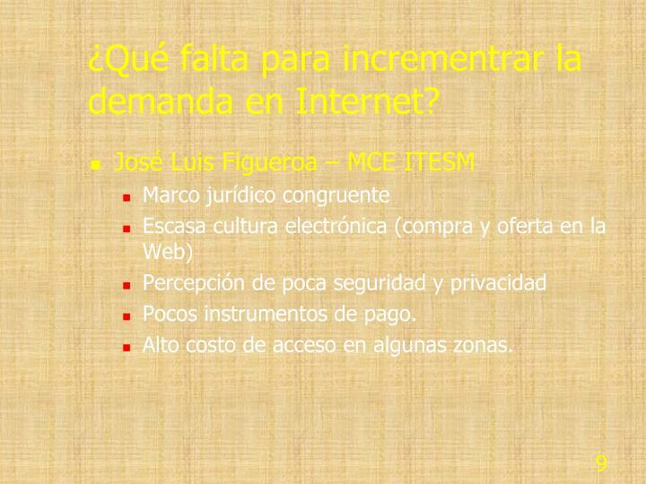 ¿Qué falta para incrementrar la demanda en Internet?