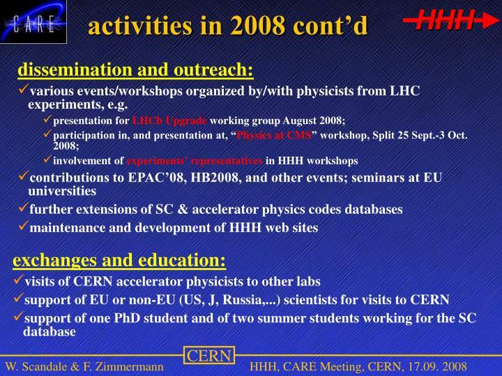activities in 2008 cont'd