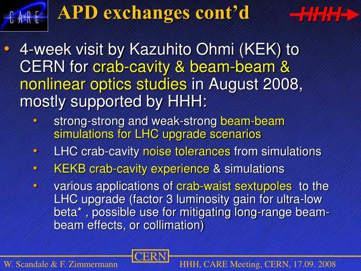 APD exchanges cont'd