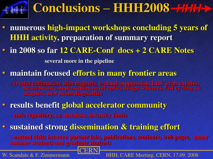 Conclusions – HHH2008