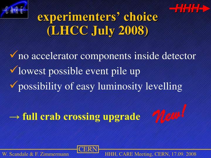 experimenters' choice