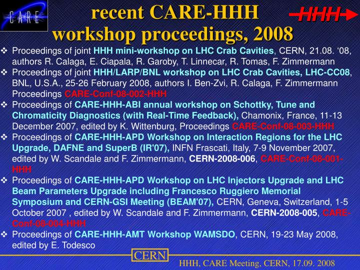 recent CARE-HHH workshop proceedings, 2008