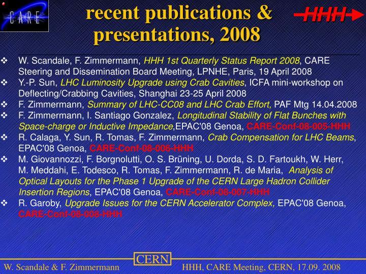 recent publications & presentations, 2008