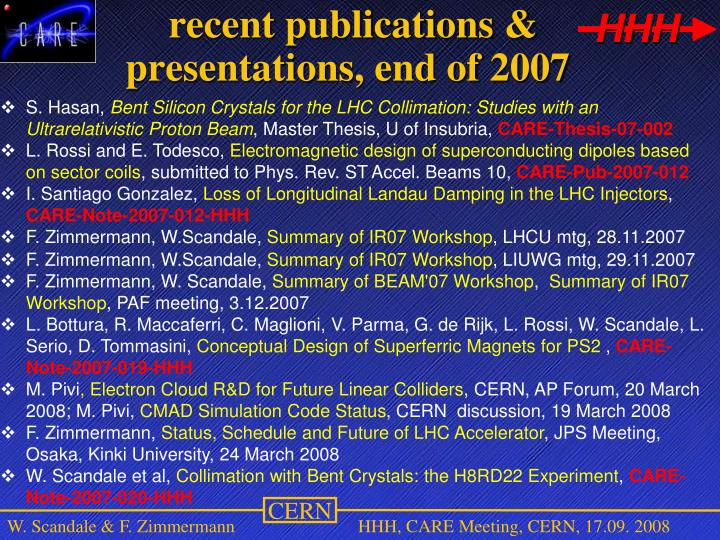 recent publications & presentations, end of 2007