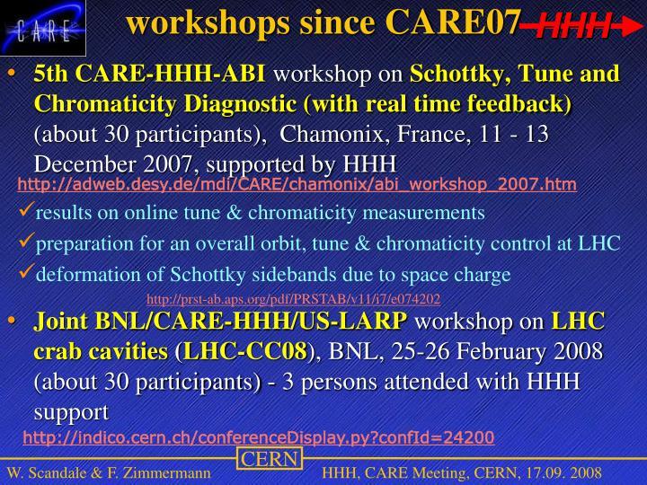 workshops since CARE07
