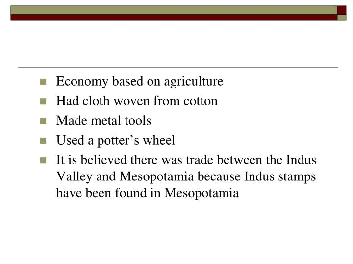 Economy based on agriculture