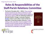 roles responsibilities of the staff parish relations committee