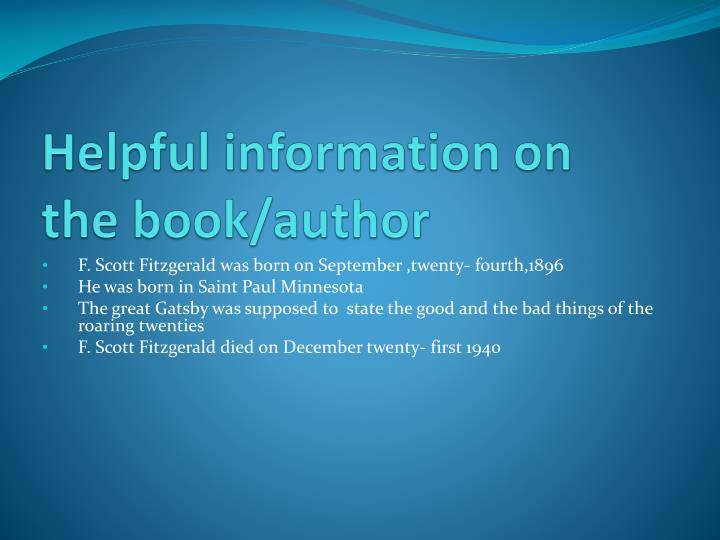 Helpful information on the book/author