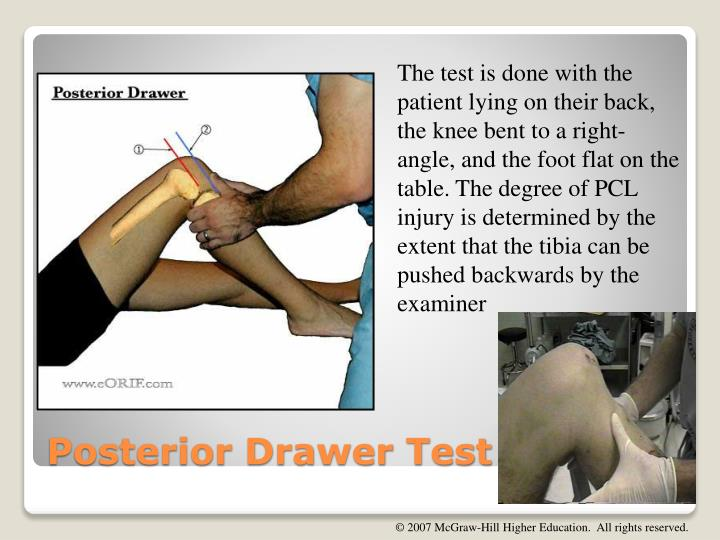 The test is done with the patient lying on their back, the knee bent to a right-angle, and the foot flat on the table.