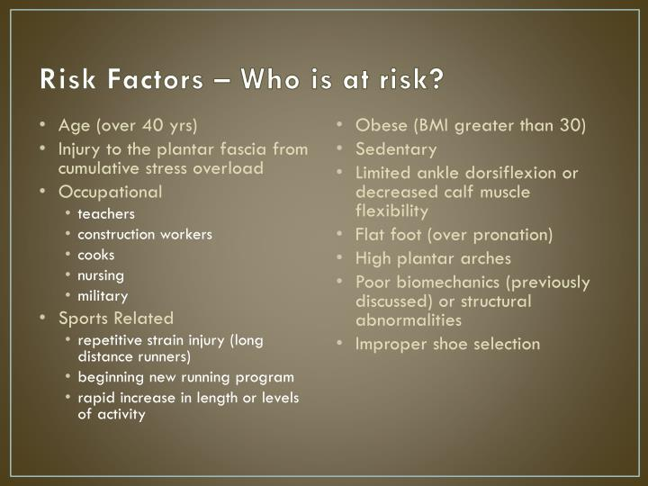 Risk Factors – Who is at risk?