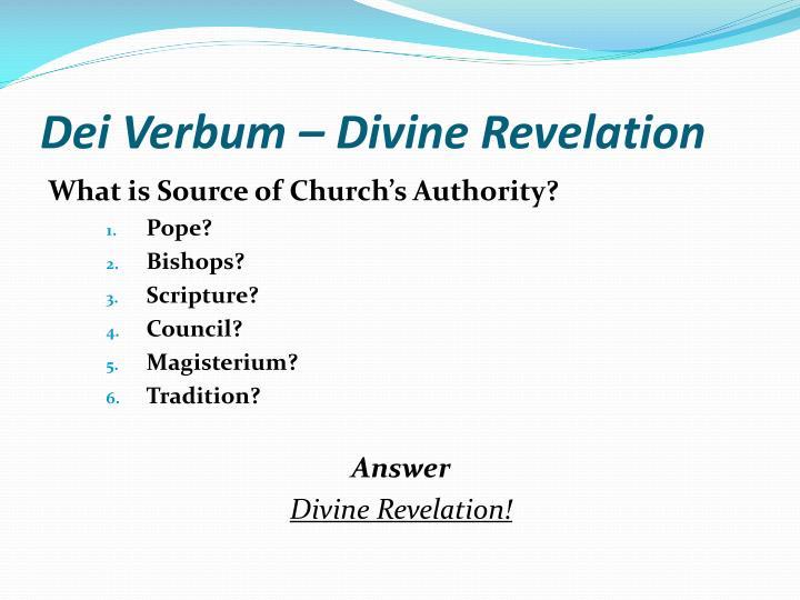 Dei Verbum – Divine Revelation