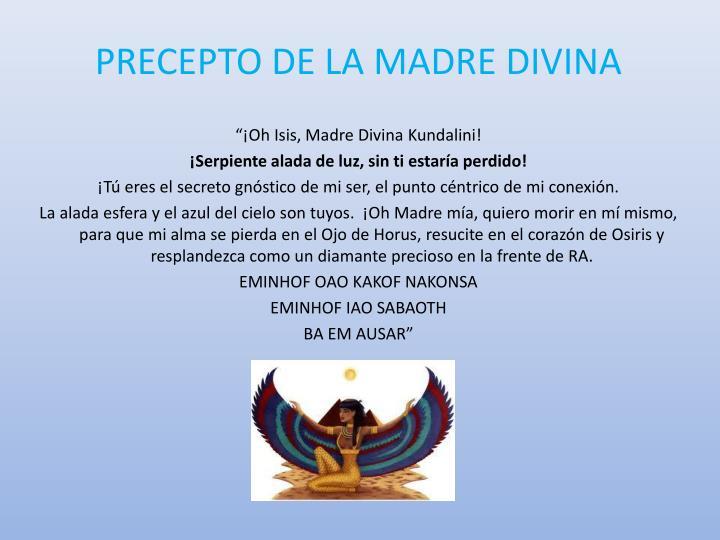 PRECEPTO DE LA MADRE DIVINA
