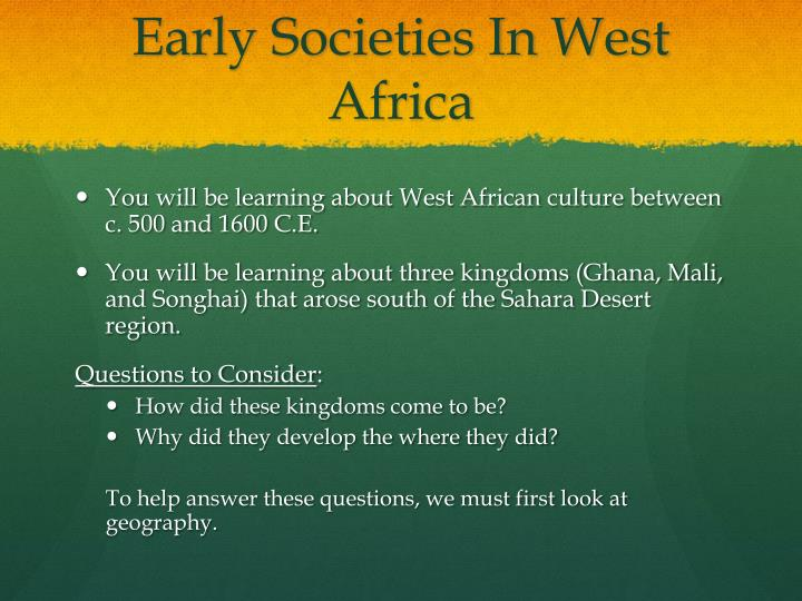 Early societies in west africa1