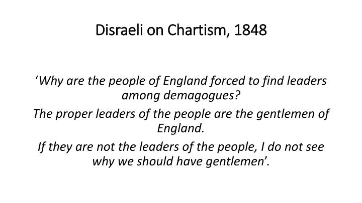 Disraeli on Chartism, 1848