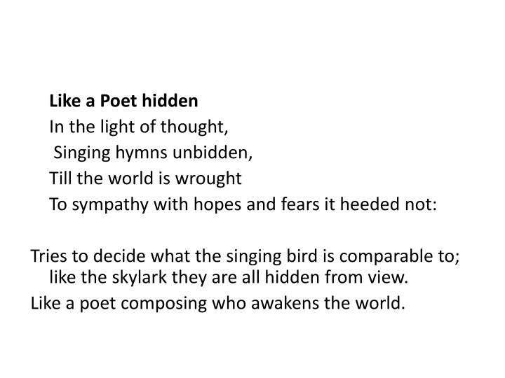 Like a Poet hidden