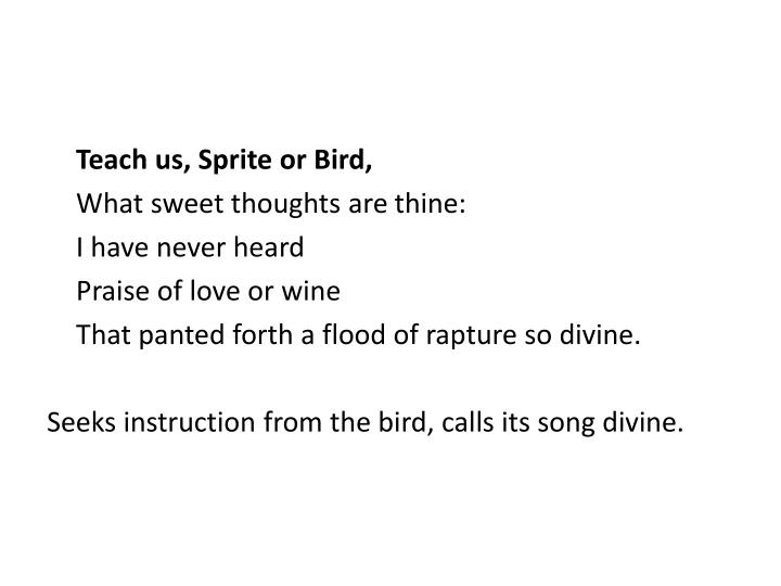 Teach us, Sprite or Bird,
