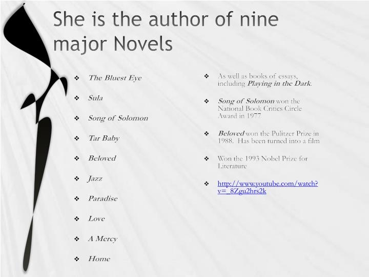 She is the author of nine major Novels