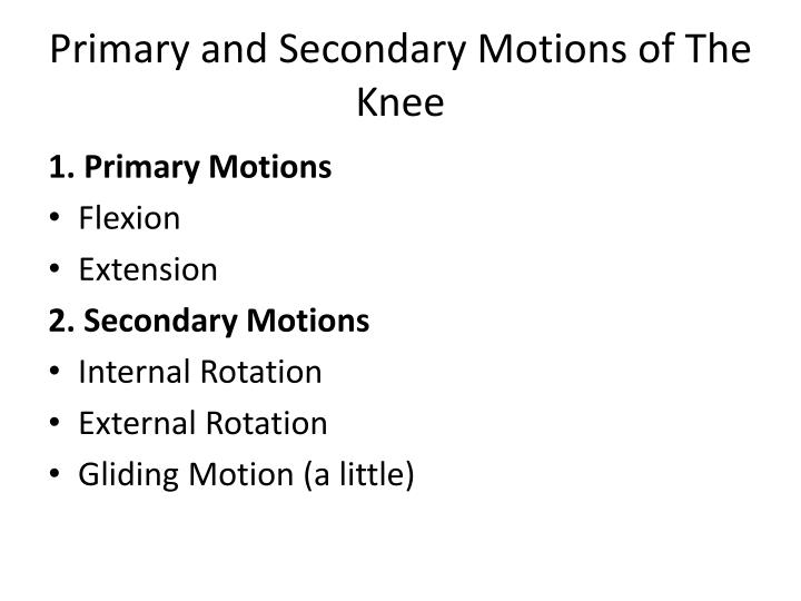 Primary and Secondary Motions of The Knee