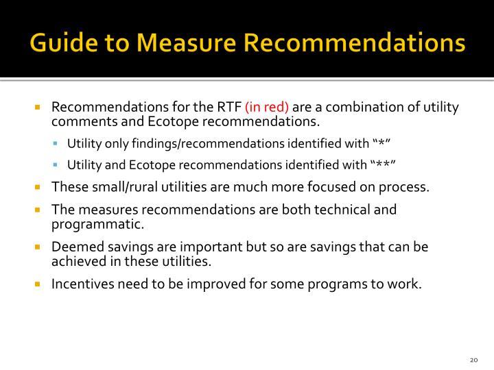 Guide to Measure Recommendations
