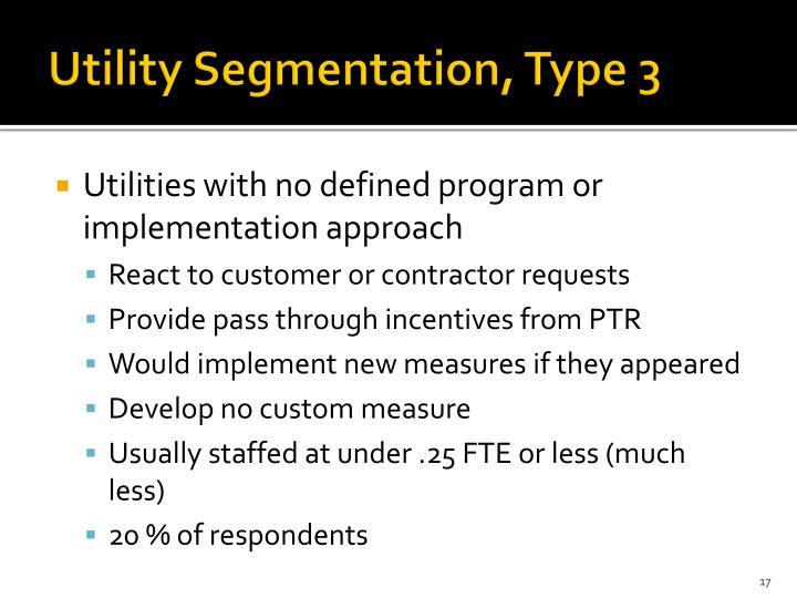 Utility Segmentation, Type 3