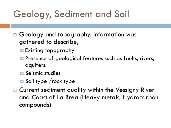 Geology, Sediment and Soil