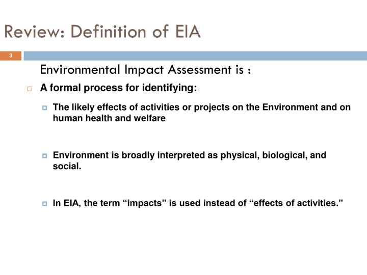 Review definition of eia1