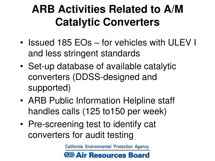 ARB Activities Related to A/M Catalytic Converters