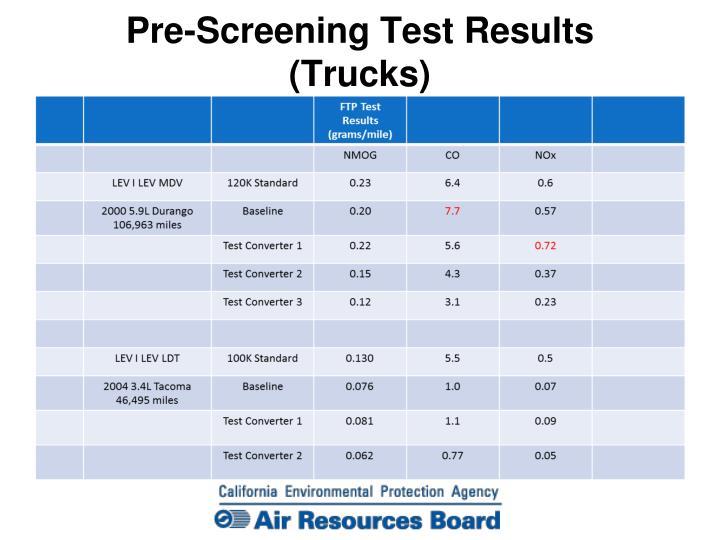 Pre-Screening Test Results (Trucks)