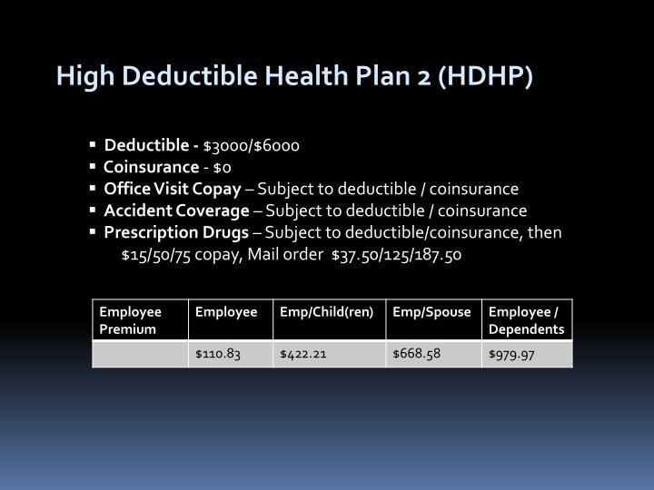 High Deductible Health Plan 2 (HDHP)