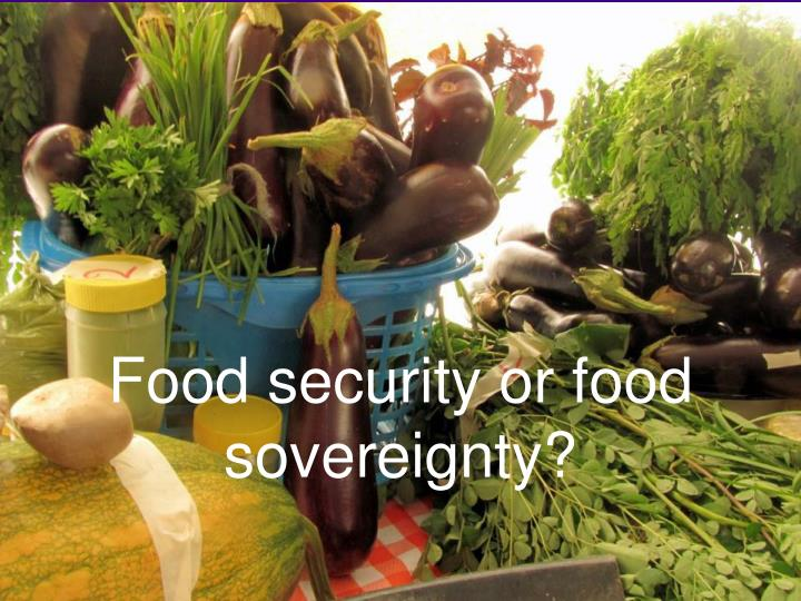 Food security or food sovereignty?
