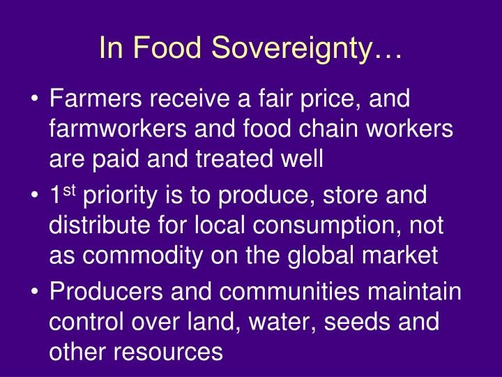 In Food Sovereignty…