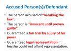 accused person s defendant
