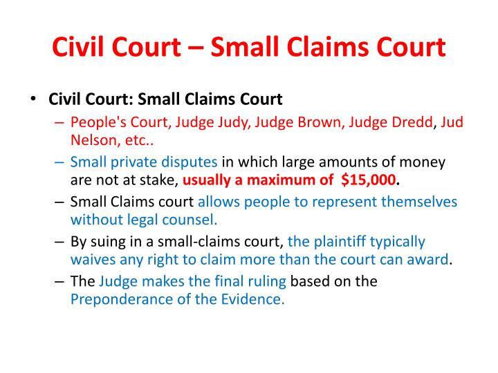 Civil Court – Small Claims Court