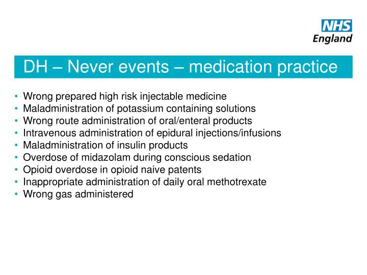 DH – Never events – medication practice